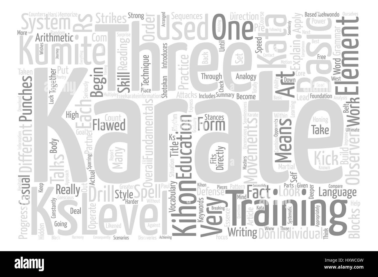 Kihon Kata And Kumite The Three KS Of Karate text background word cloud concept - Stock Vector