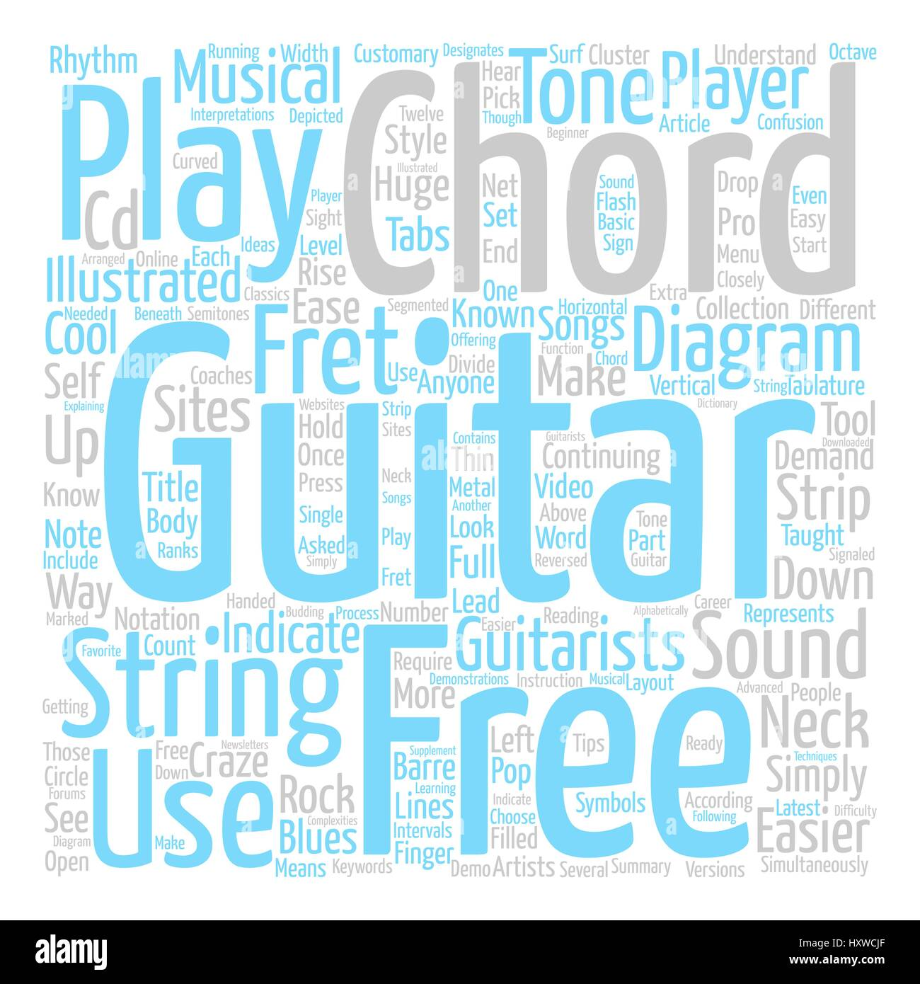 Know Your Free Guitar Chords Text Background Word Cloud Concept