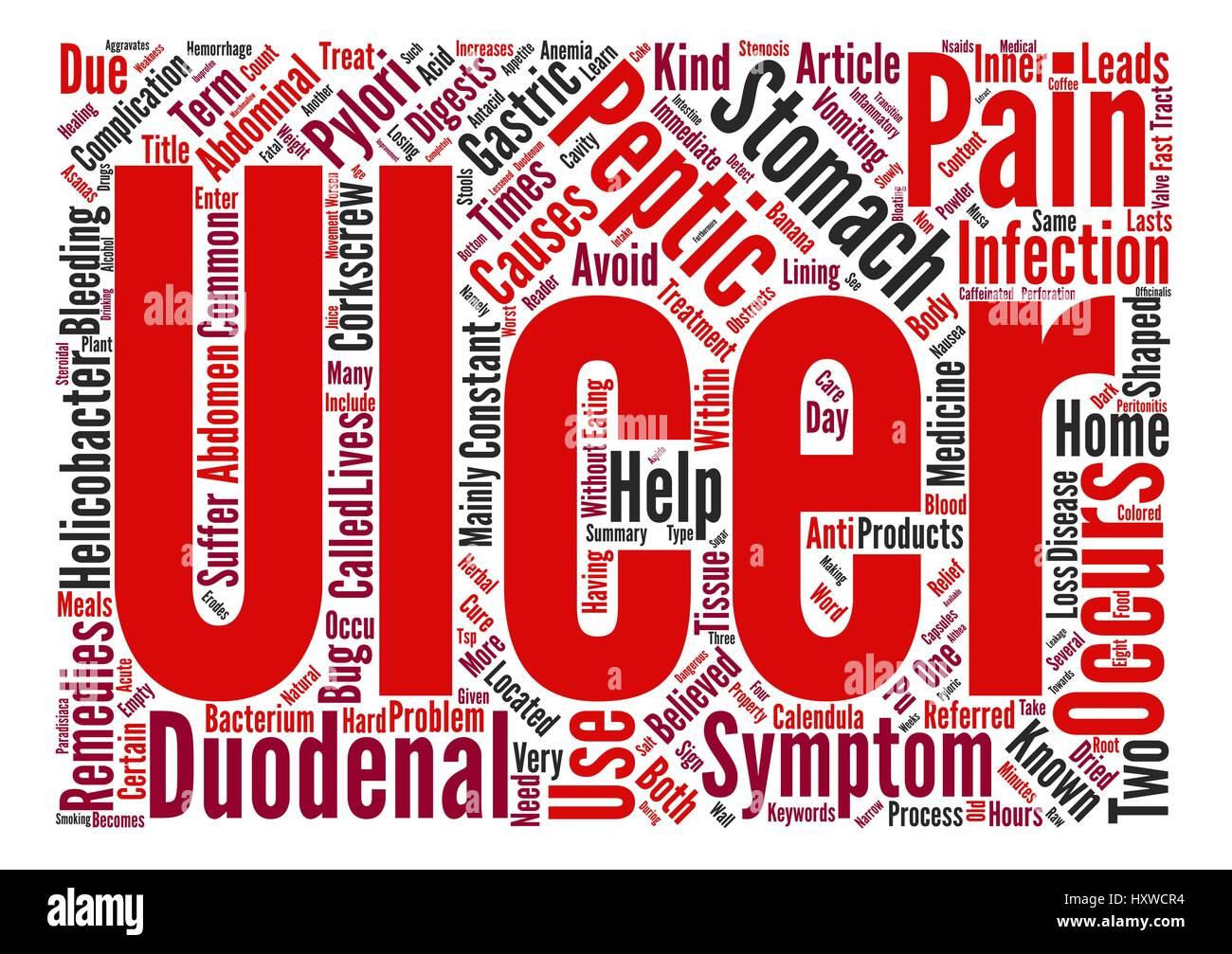 Learn About Peptic Ulcer text background word cloud concept - Stock Vector