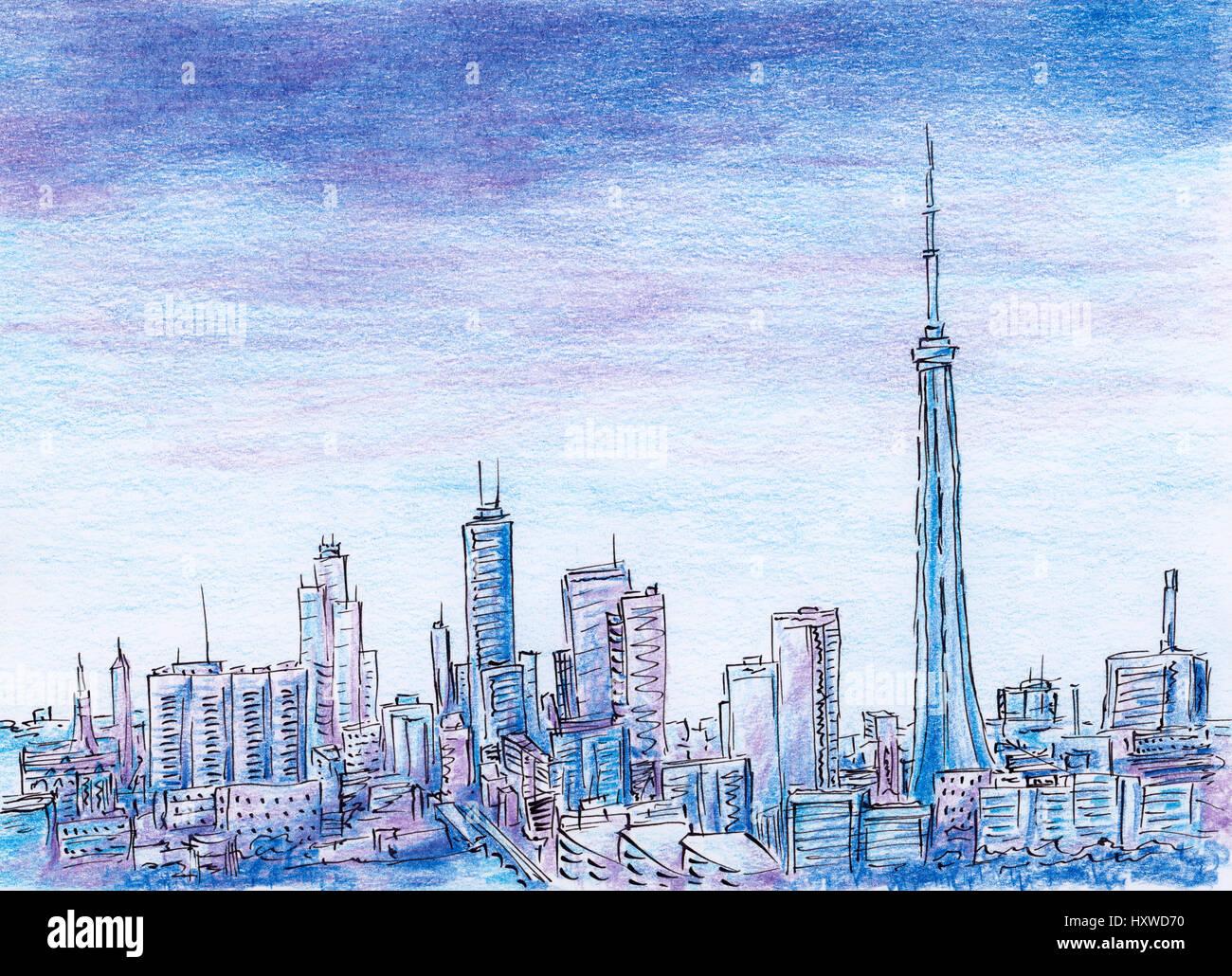 City Skyline Skyscraper Sketch Stock Photos Amp City Skyline