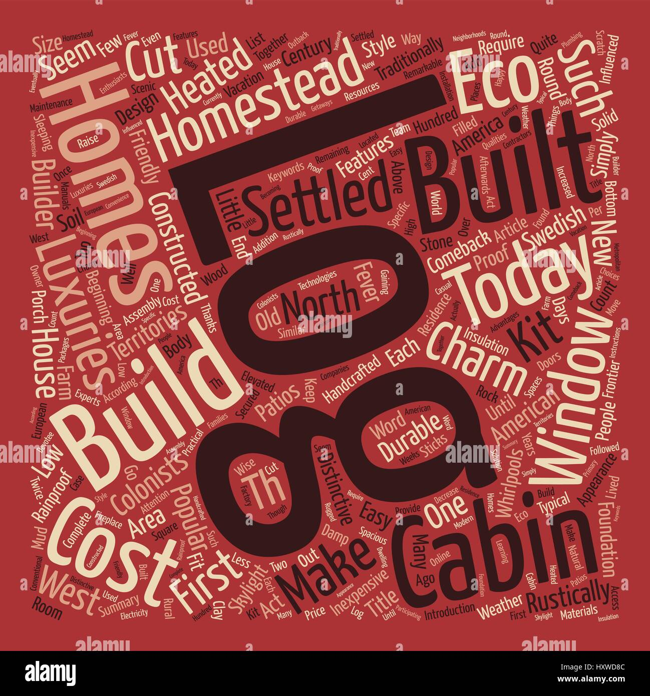 Log Cabin Fever text background word cloud concept - Stock Vector