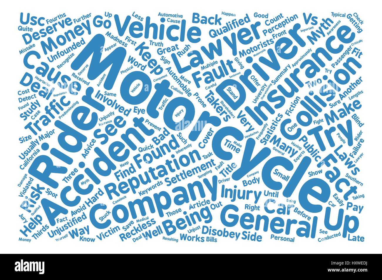 Motorcycle Vs Car Myth or Madness text background word cloud concept - Stock Image