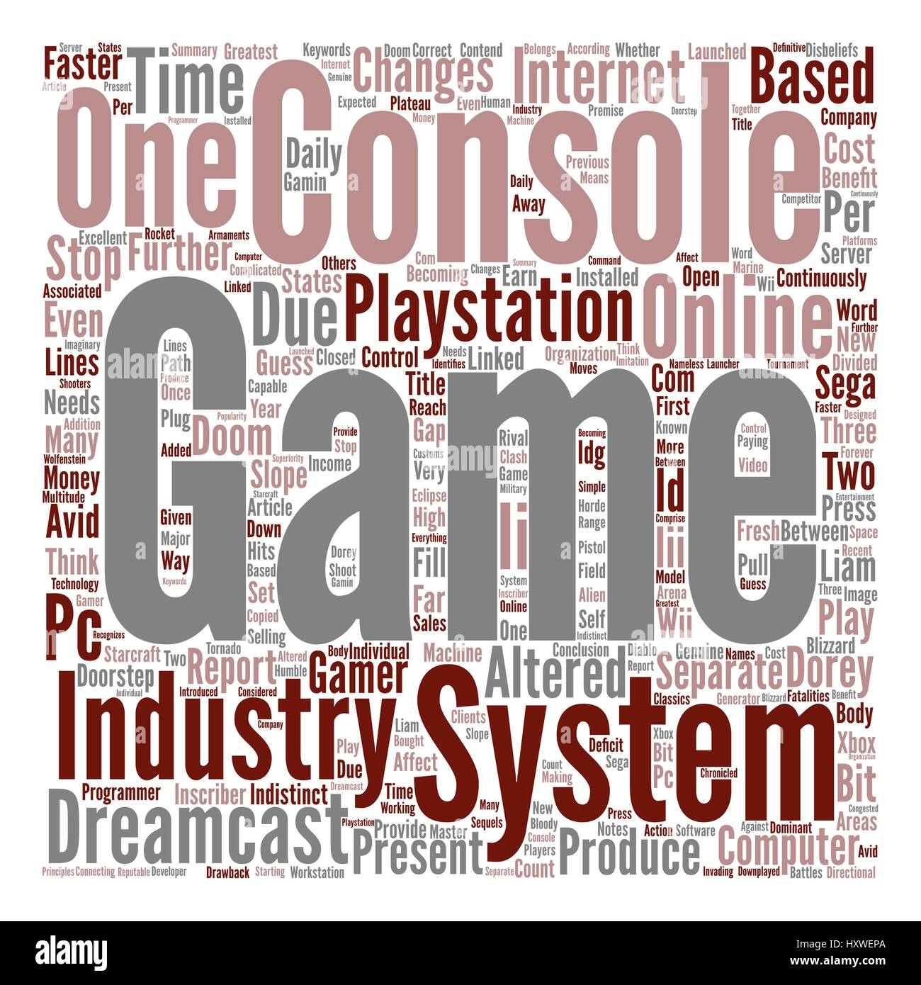 New Consoles How They Affect The Industry text background word cloud concept - Stock Image