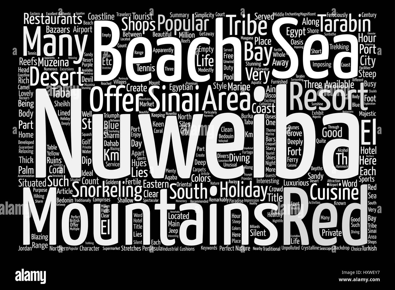 Nuweiba Holidays Egypt text background word cloud concept - Stock Image