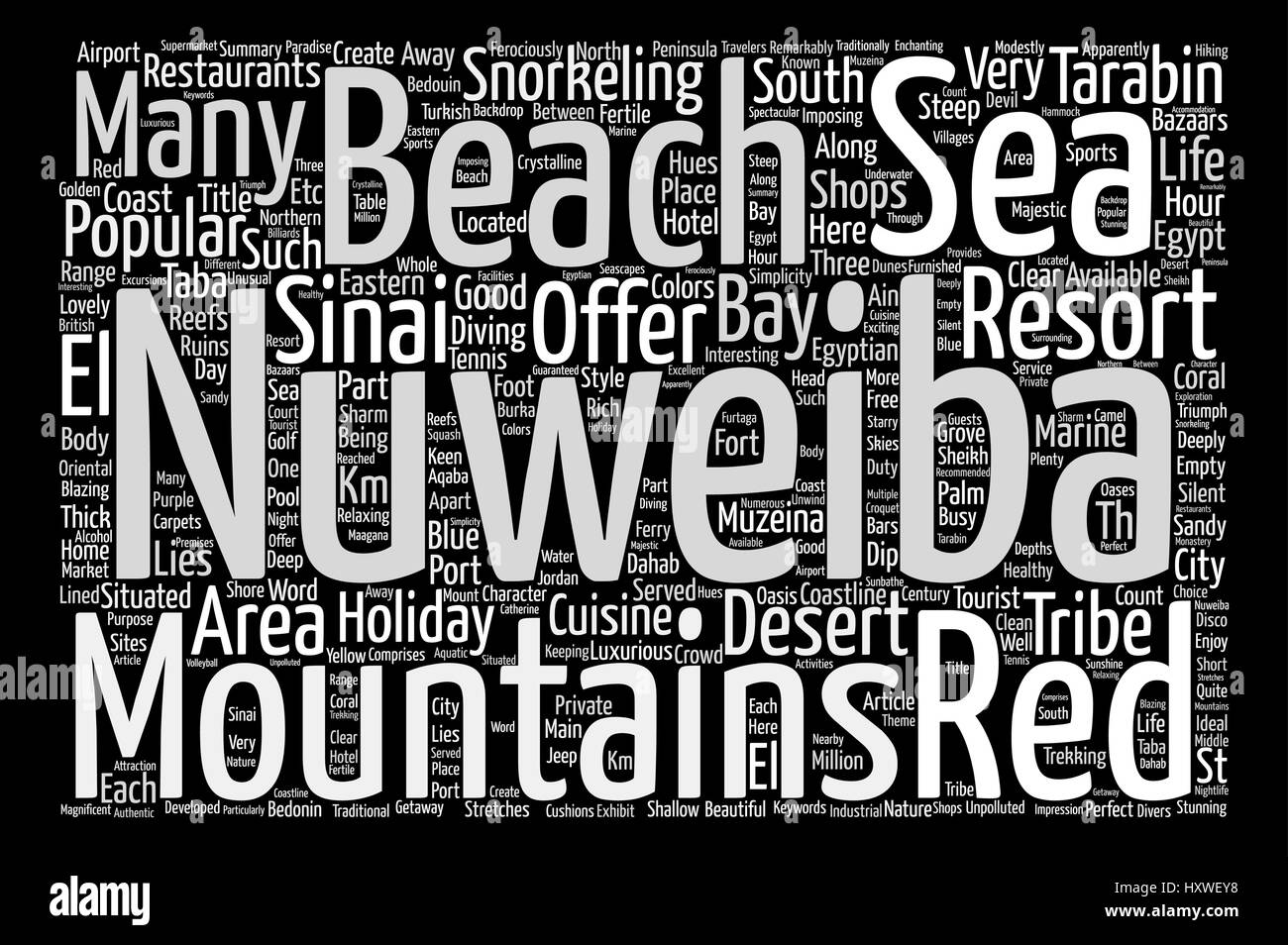 Nuweiba Holidays Egypt Word Cloud Concept Text Background - Stock Image