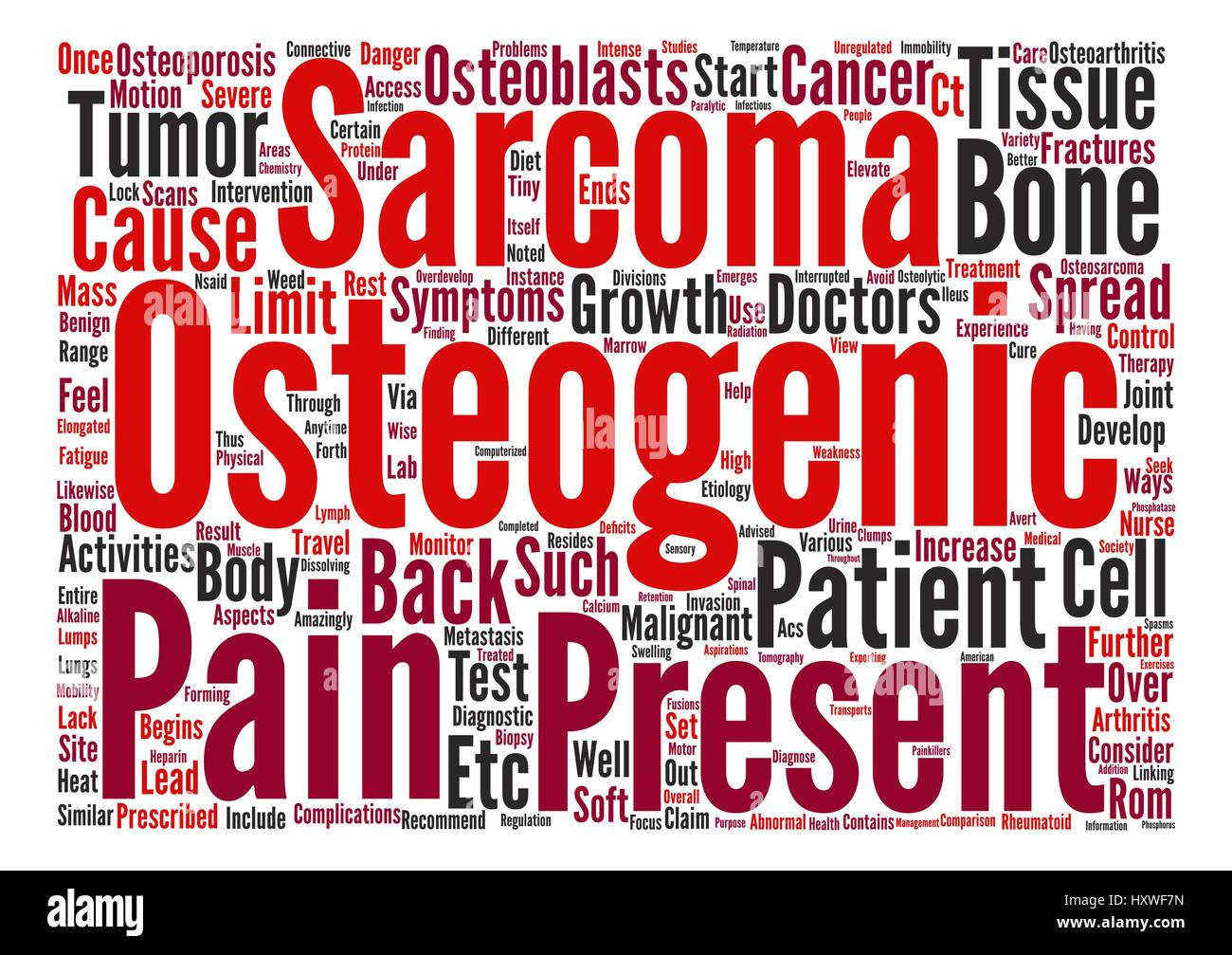 Osteogenic Sarcoma and Back Pain text background word cloud concept Stock Vector