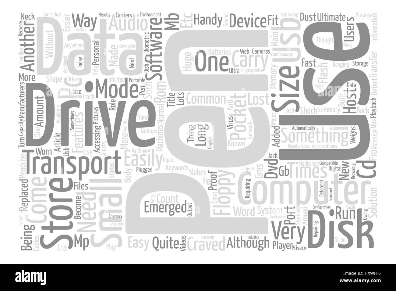 Pen Drive As The Ultimate Mode To Transport Data text background word cloud concept Stock Vector