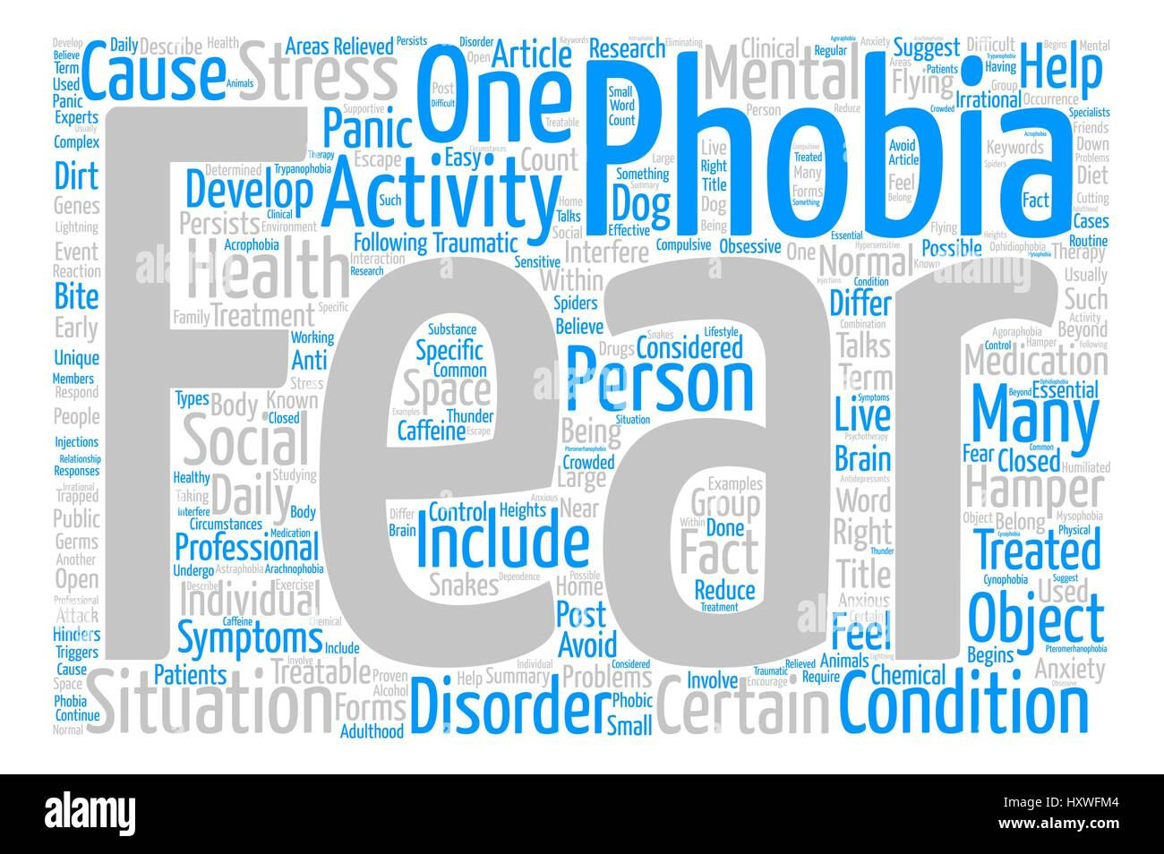 Phobia The Fear Within text background word cloud concept - Stock Vector