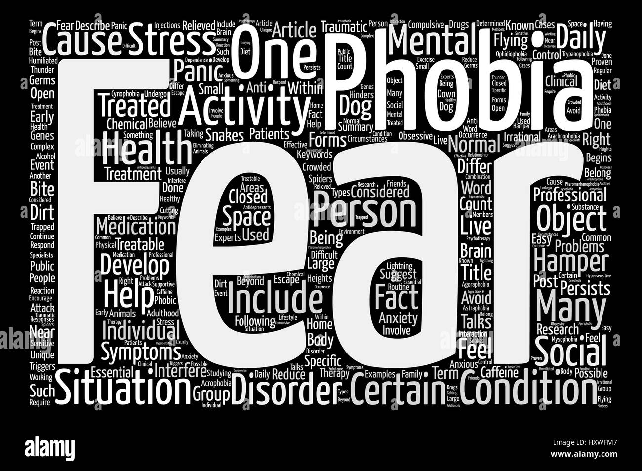 Phobia The Fear Within Word Cloud Concept Text Background - Stock Vector