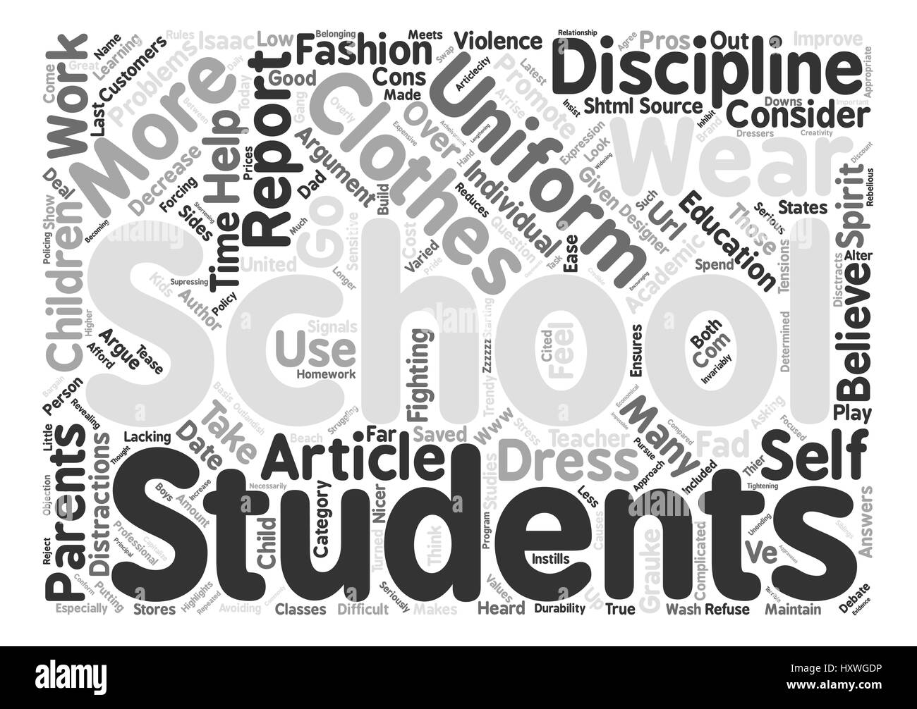 Pros and Cons of School Uniforms text background word cloud concept - Stock Vector