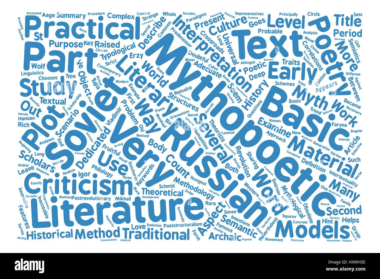 Russian literature text background word cloud concept - Stock Image