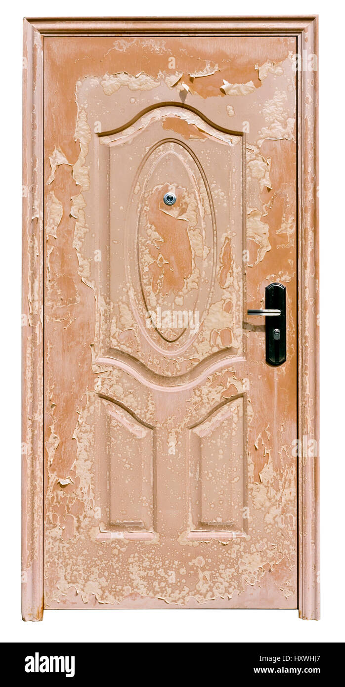The ugly scaly brown mass production  door underwent to the atmospheric weather to impact. Isolated - Stock Image