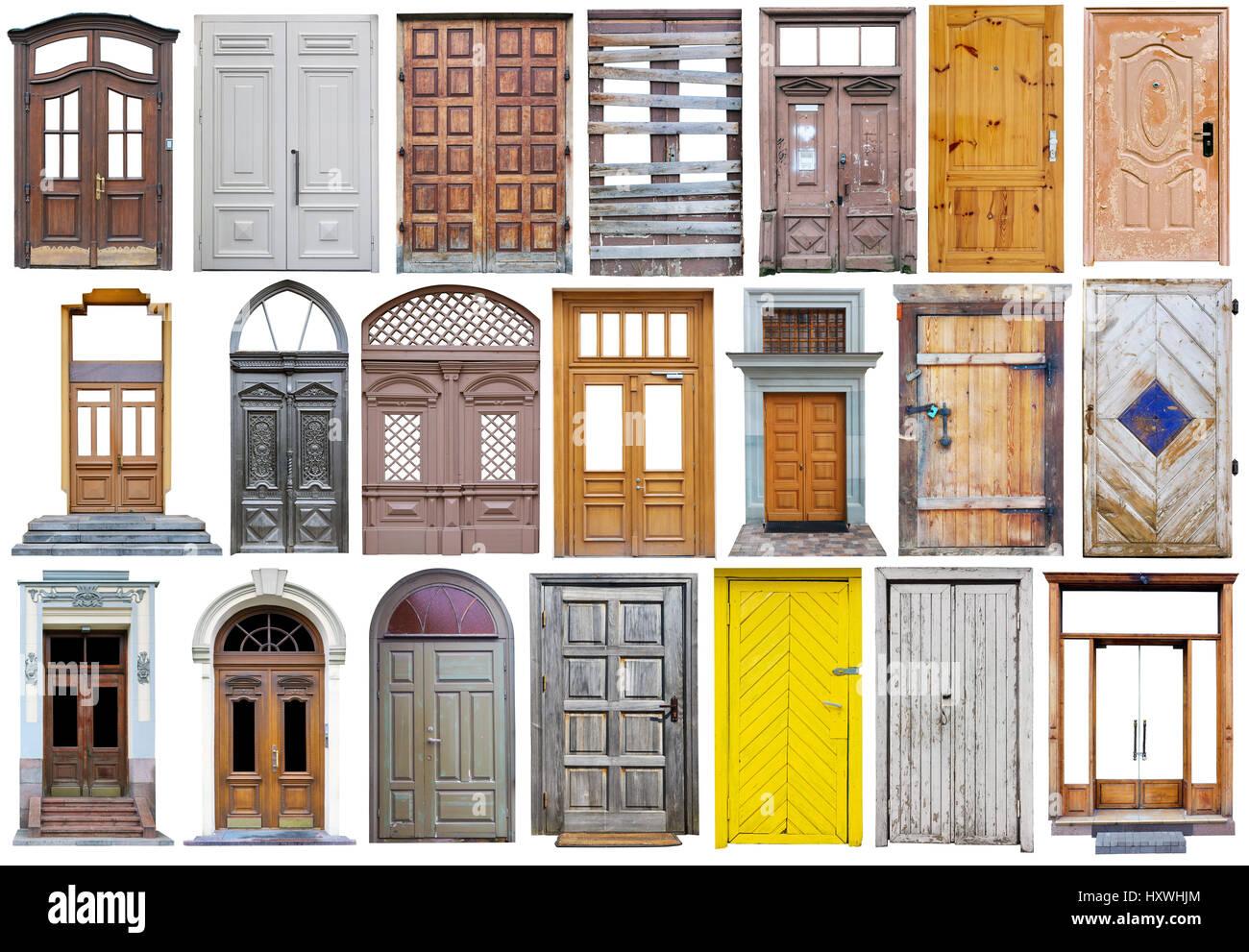 Modern Wooden Street Doors In Vintage Retro Style Big Set Collage