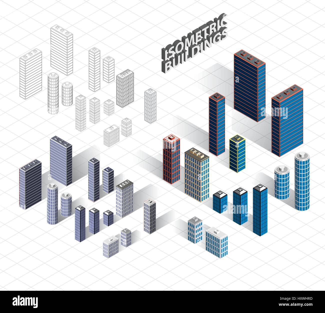 Vector isometric buildings set. Skyscrapers icons. Big city Stock ...