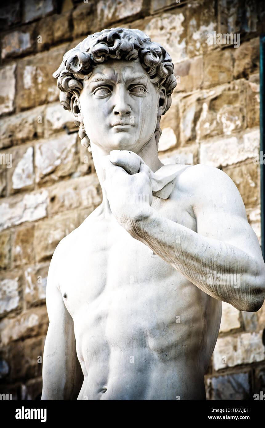Michelangelo's David Portrait, Statue in Florence Stock Photo