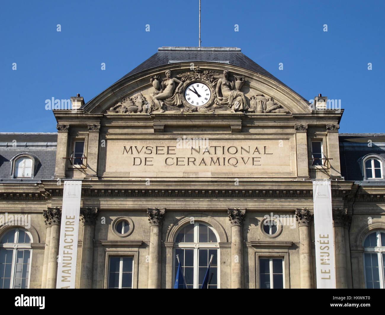 Musee National de Ceramique, National Museum of Ceramics, Bernard Palissy statue, Sevres, Hauts-de-Seine, Paris, - Stock Image