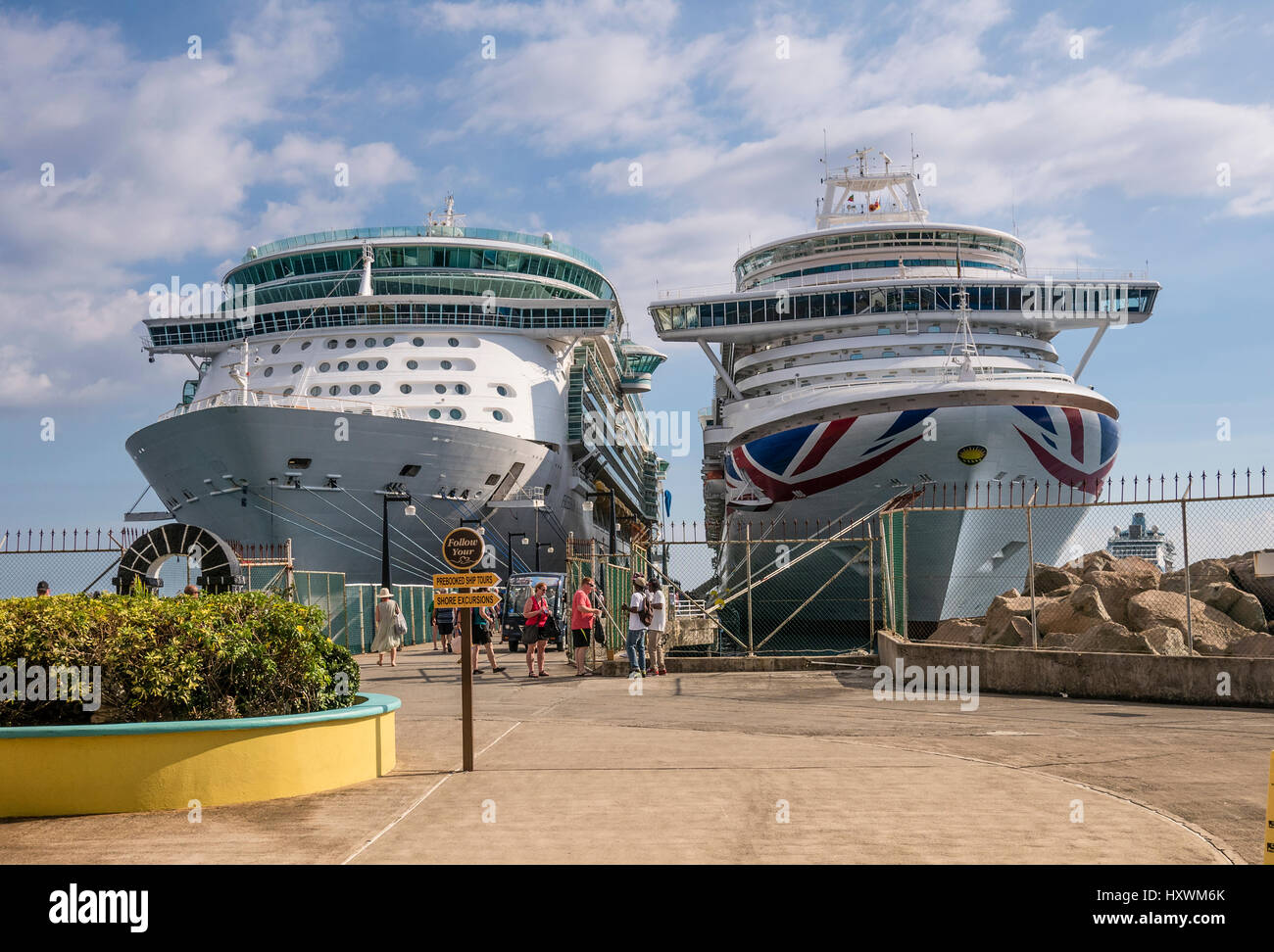 Cruise Ships 'Serenade of the Seas' and Azura Moored at Terminal at Basseterre Capital of Caribbean Island - Stock Image