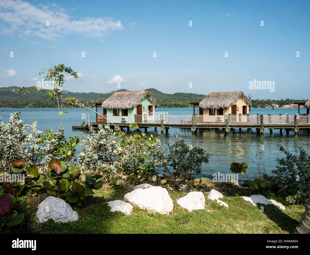 Holiday Cabins at Custom Built Amber Cove Cruise Resort in Caribbean Dominican Republic - Stock Image