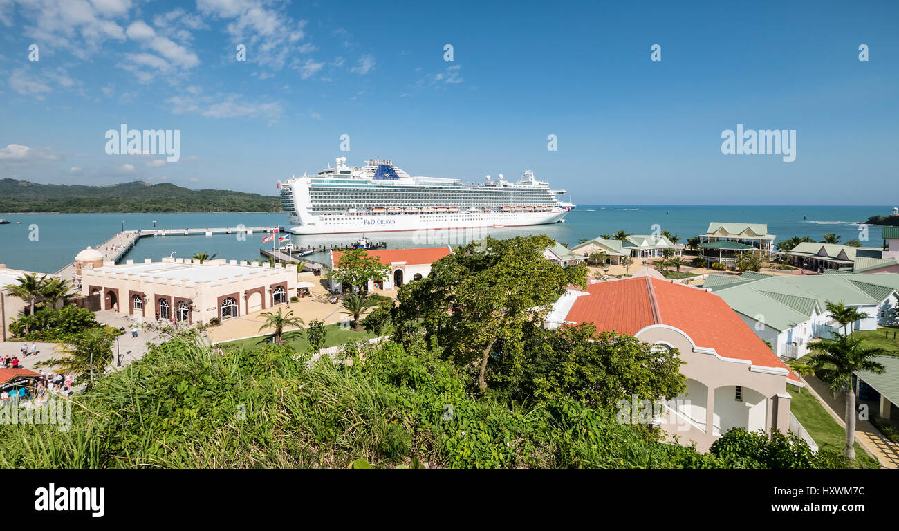 Cruise Ship Azura at Custom Built Amber Cove Cruise Resort and Shopping Centre in Caribbean Dominican Republic - Stock Image