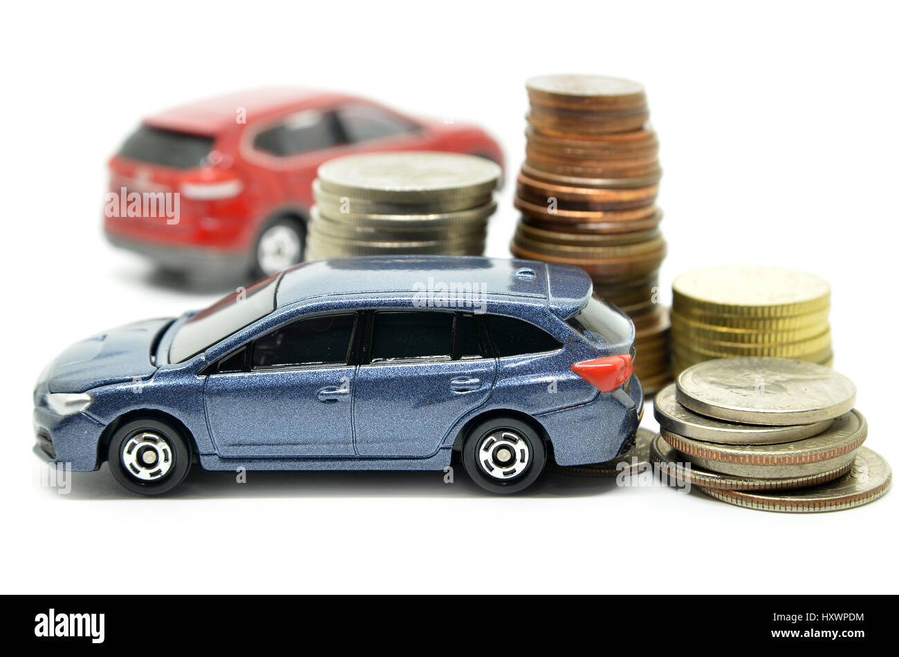 Saving money for a car concept on white background - Stock Image