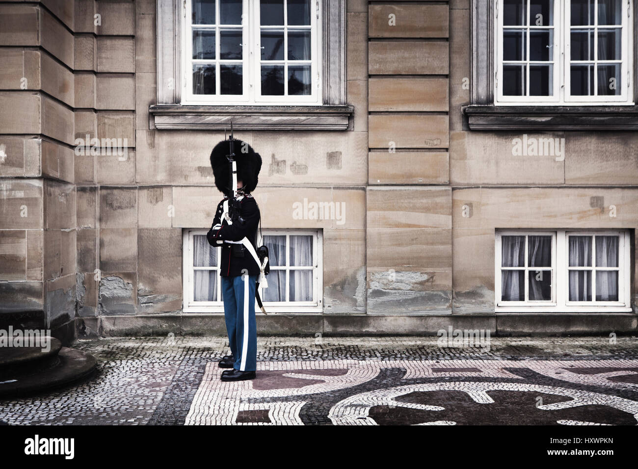 A Danish Royal Guard at Amalienborg in Copenhagen, Denmark. Their uniform is similar to the Foot Guards of the British - Stock Image