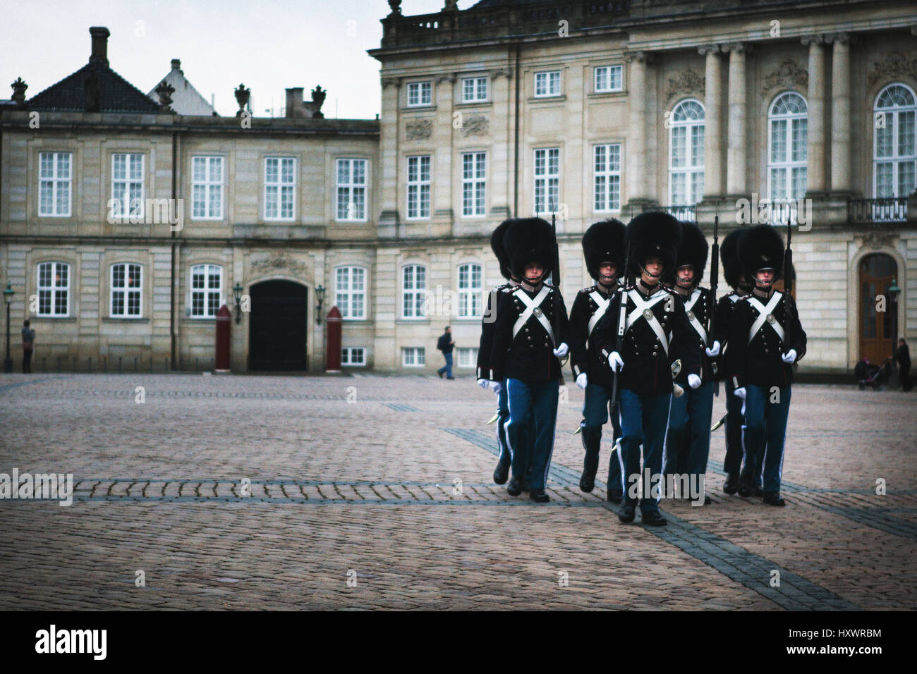 Changing the Guard ceremony at Amalienborg in Copenhagen, Denmark. Their uniform is similar to the Foot Guards of - Stock Image