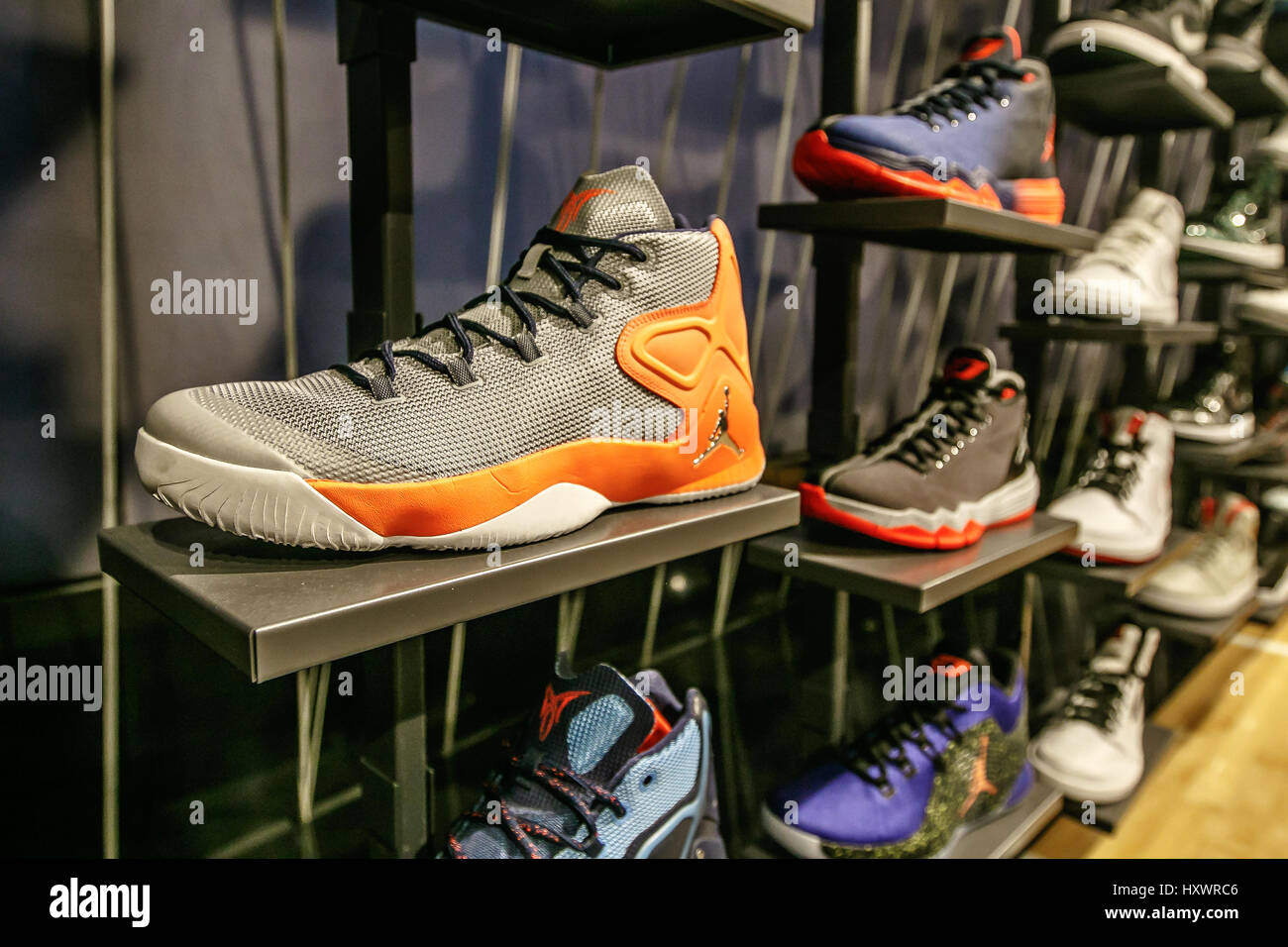 new style 3eb8f 53ca9 Assorted Air Jordan basketball shoes for sale in the NBA store in Manhattan.