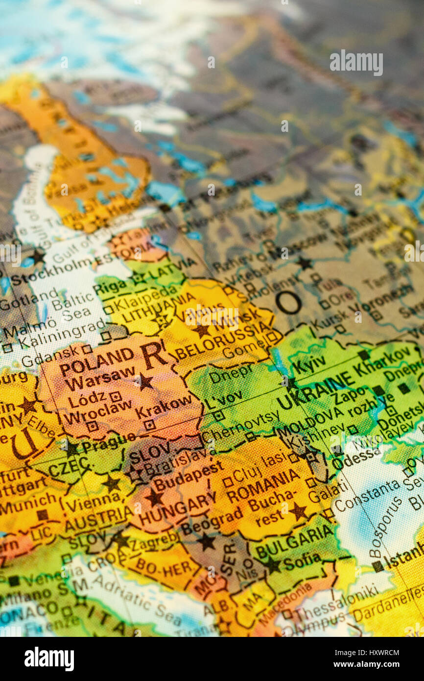 Capital Of Poland Map.Map Of Poland Selective Focus On Polish Capital Warsaw Stock Photo