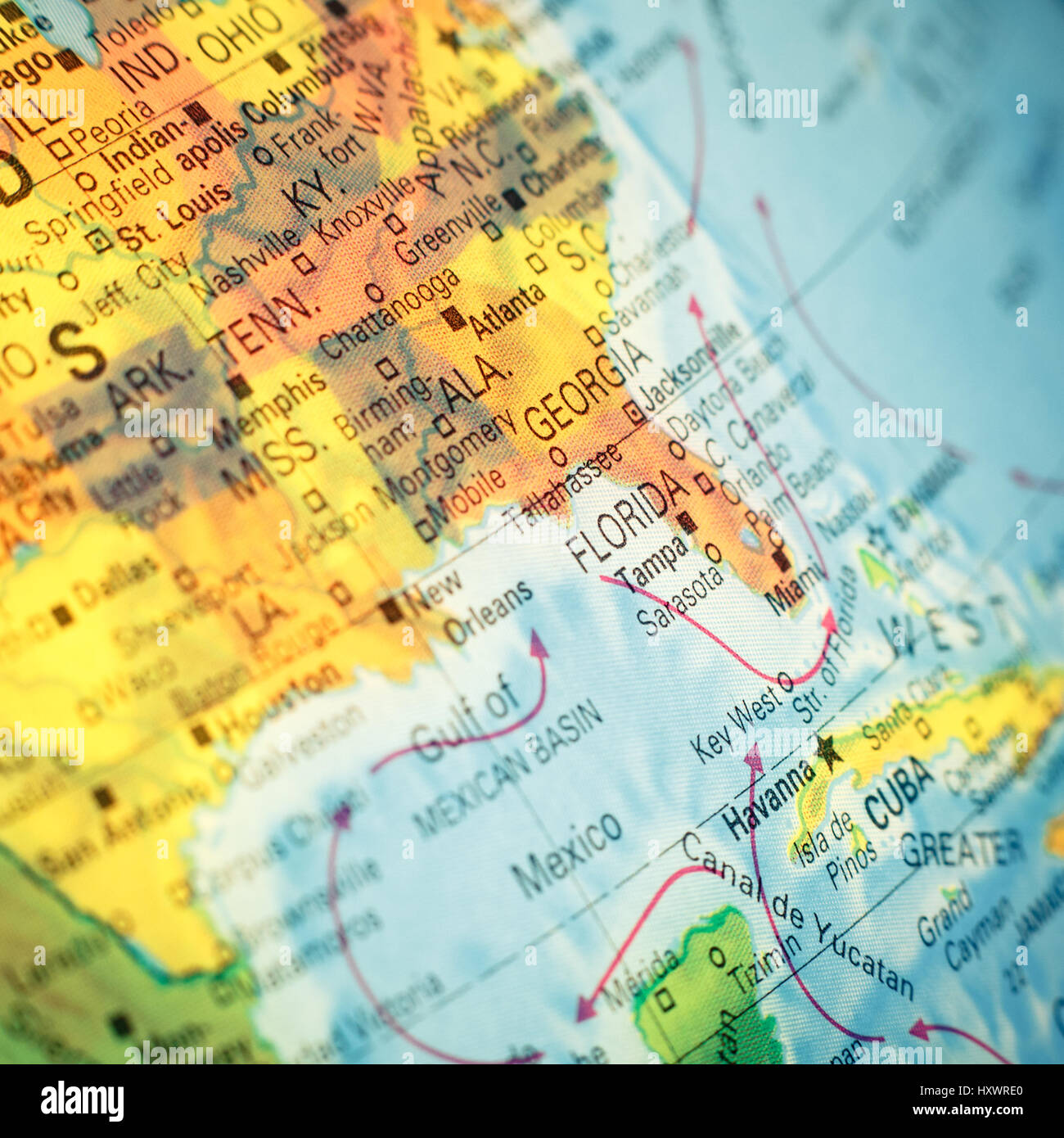 Map South East USA . Close-up macro image of map Southeast America ...
