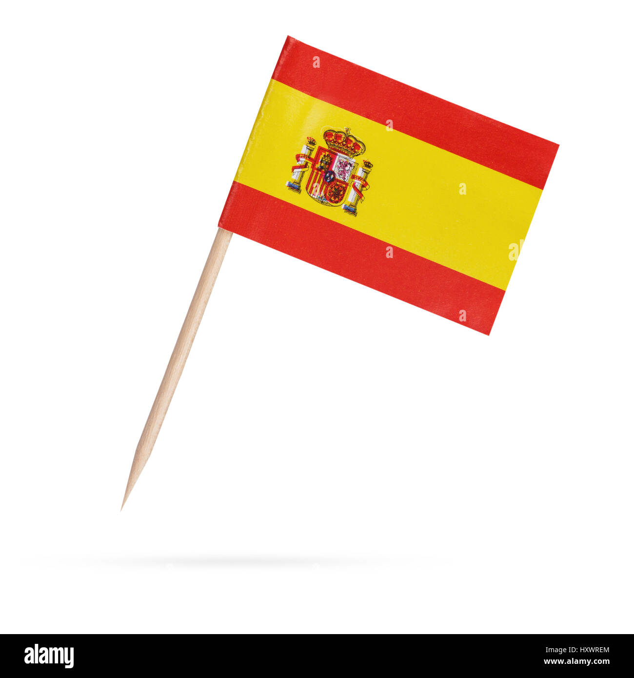 Miniature paper flag Spain. Isolated Spanish Flag on white background.With shadow below Stock Photo