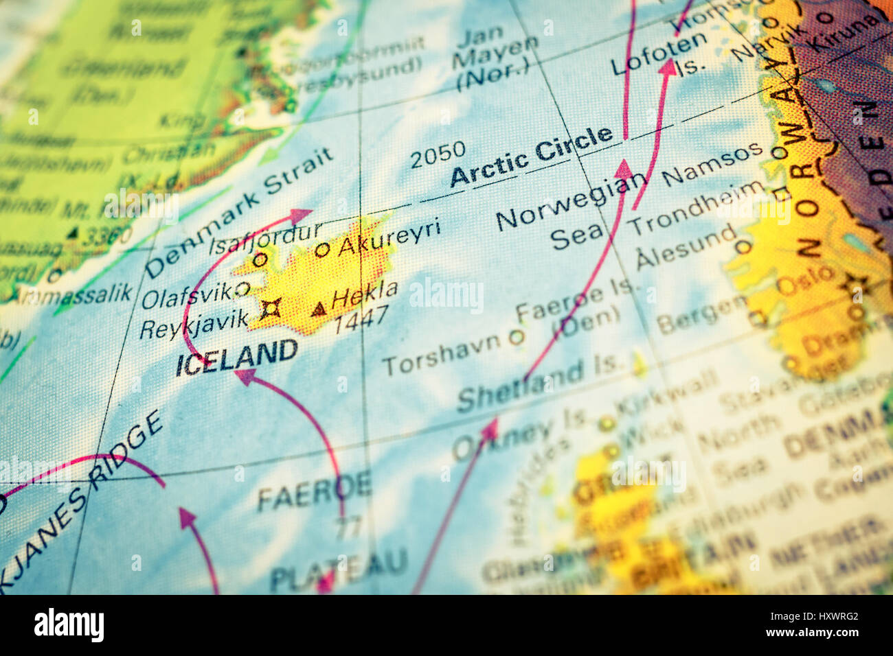 Globe map arctic circle stock photos globe map arctic circle stock map iceland vintage close up macro image of iceland map selective focus reykjavik gumiabroncs Gallery
