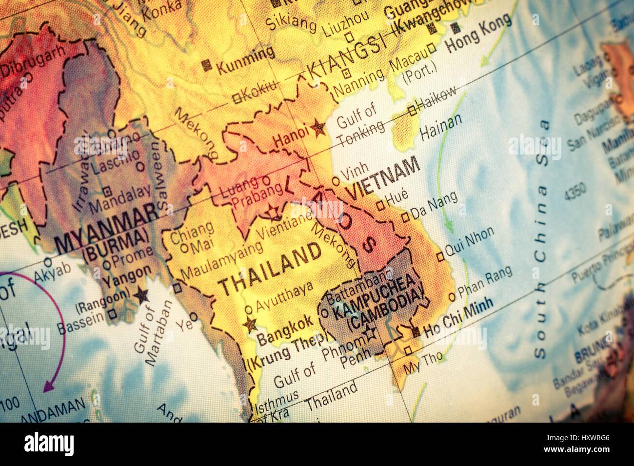 Vintage Map Kampuchea ,Cambodia. Close-up macro image of South East ...