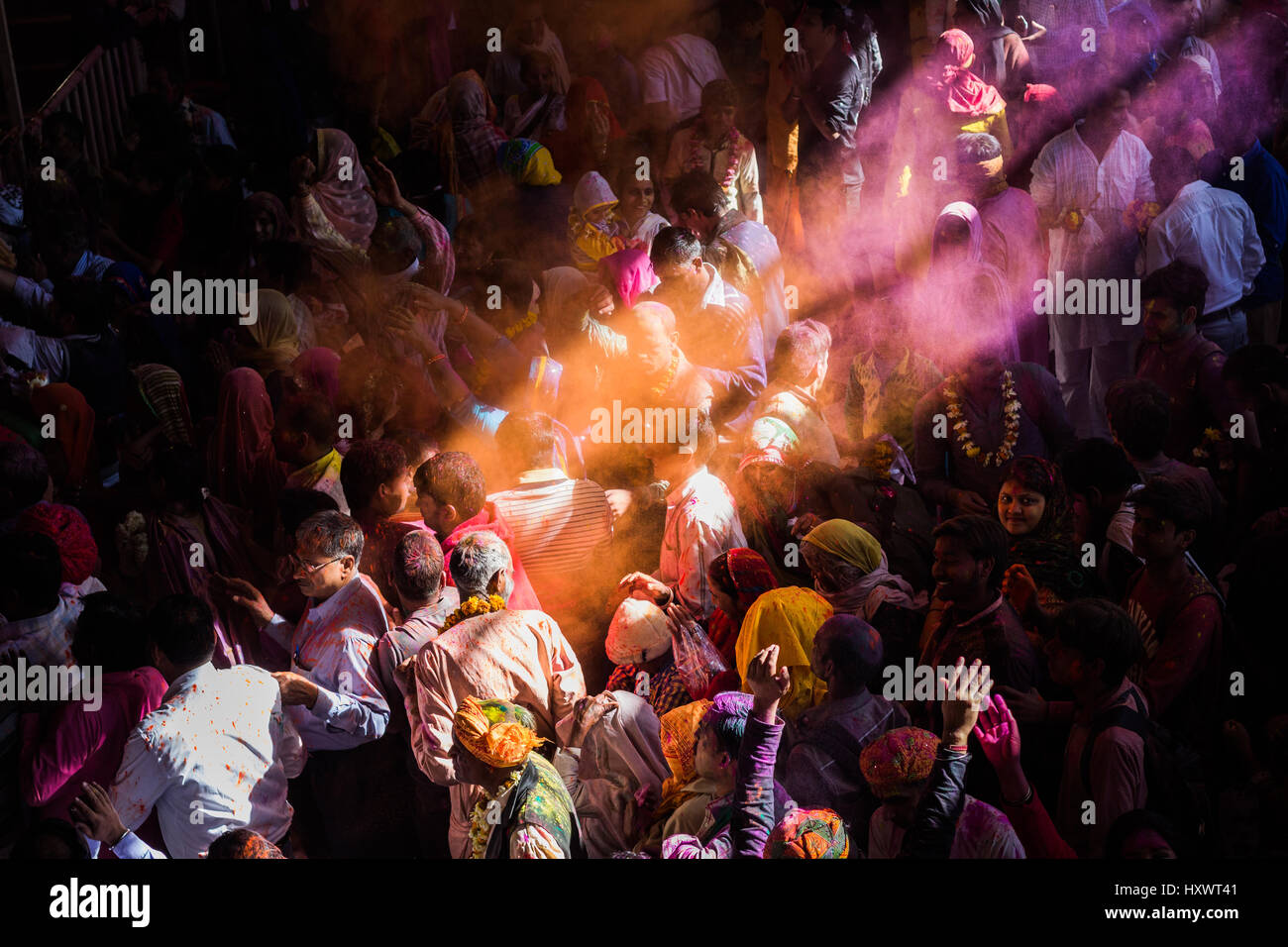 BARSANA - MAR 05, 2017: Holi celebration in India. The festival of colors being celebrated in the ancient city of Stock Photo