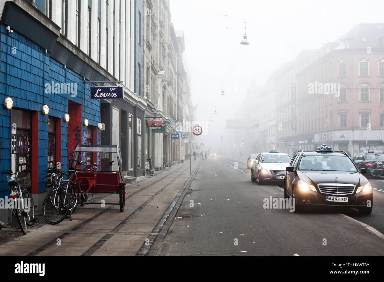 The streets of Norrebrogade is known for multitude shops and restaurants, which is one of the main points of interest - Stock Image