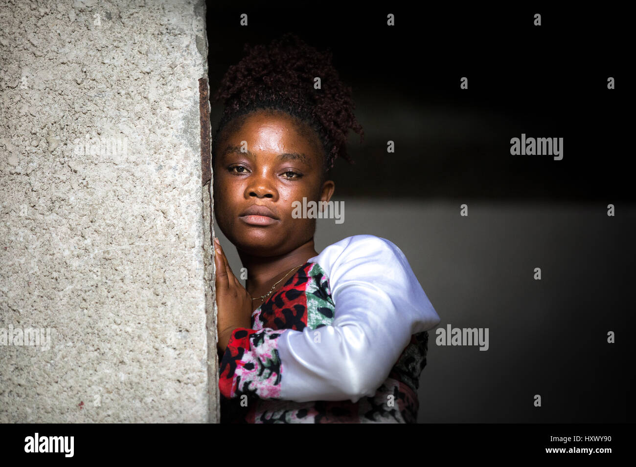 Portrait of Decontee Davies, Ebola survivor, Monrovia, Liberia - Stock Image