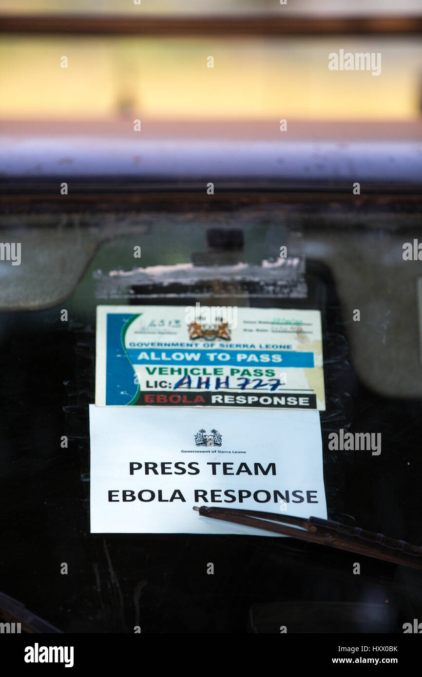 Ebola response permit, press pass. In Sierra Leone a travel ban was implemented, without a people could not pass - Stock Image
