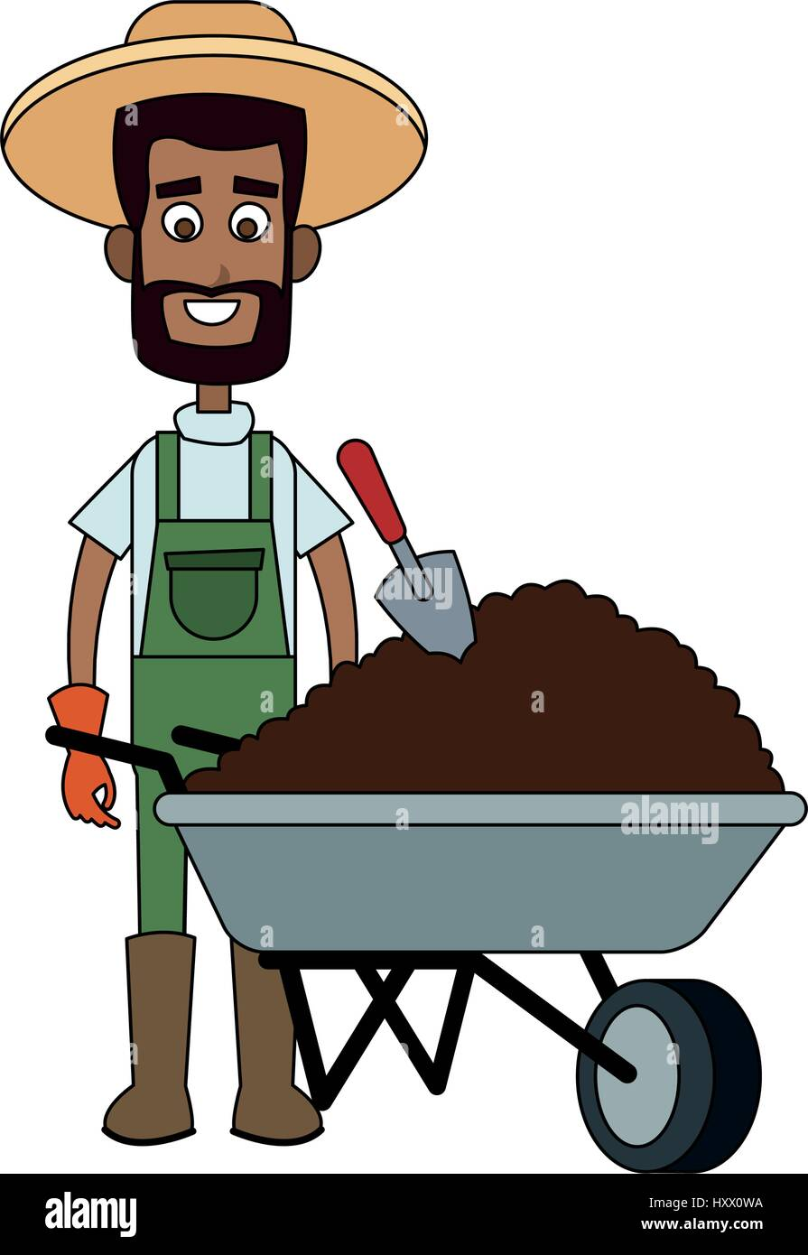 Male Farmer Carrying Dirt Cartoon Icon Image Vector Illustration Stock Vector Image Art Alamy