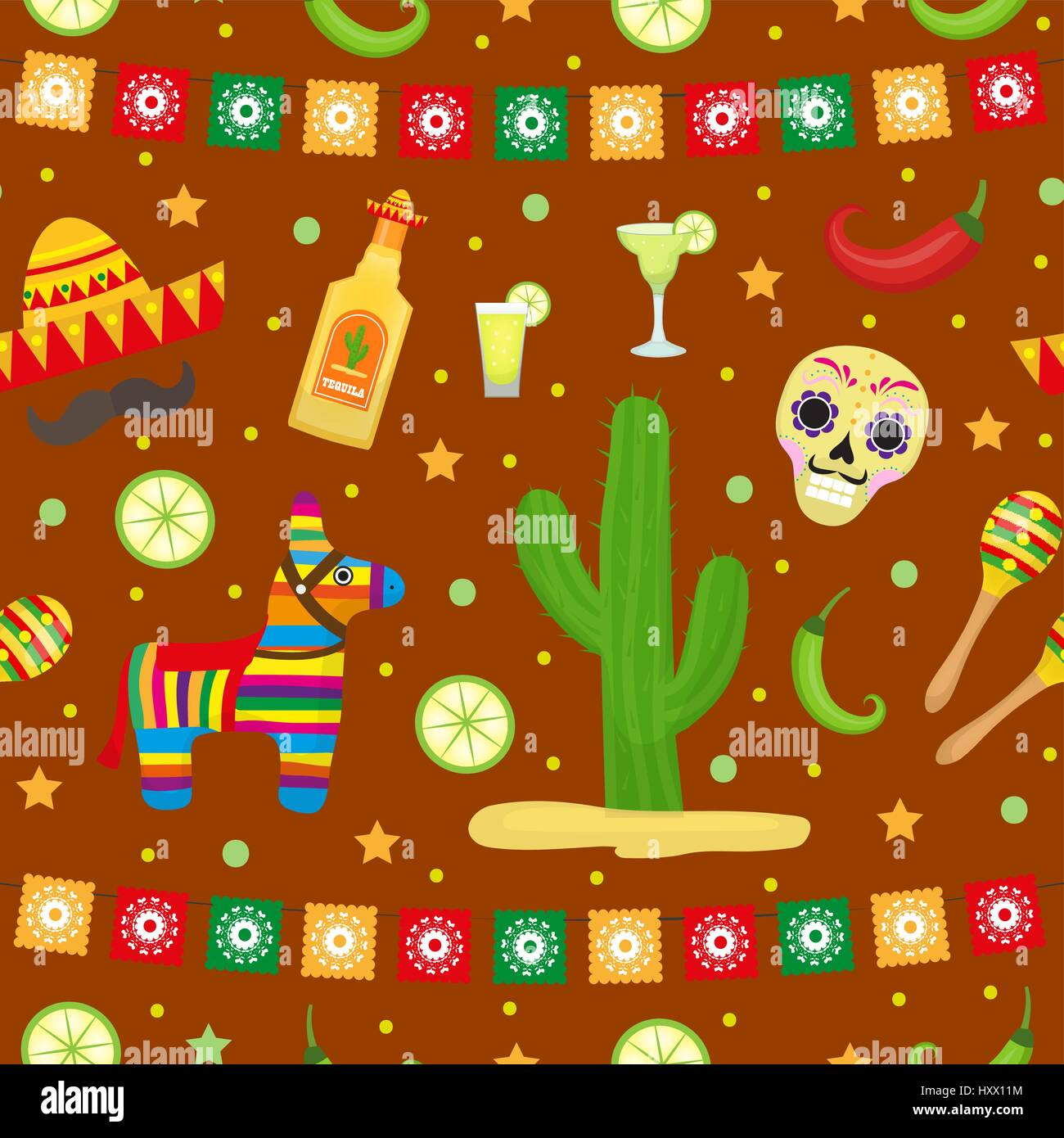 Cinco De Mayo Seamless Pattern Mexican Holiday Endless Background Texture Vector Illustration