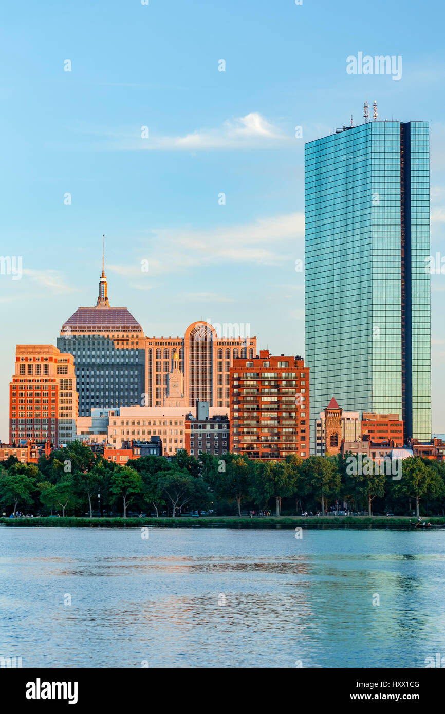 Skyline (200 Clarenton, formerly known as Hancock Tower in glass) and Charles River, Boston, Massachusetts USA Stock Photo