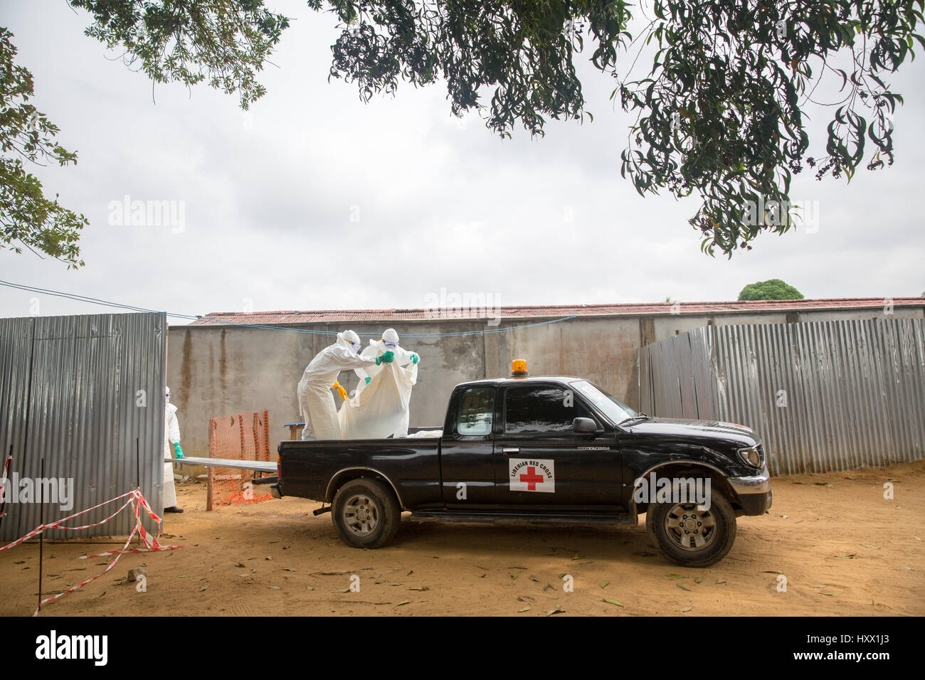 Todays dead from ELWA hospital are collected by the safe burial team. They have died in the Ebola treatment unit - Stock Image