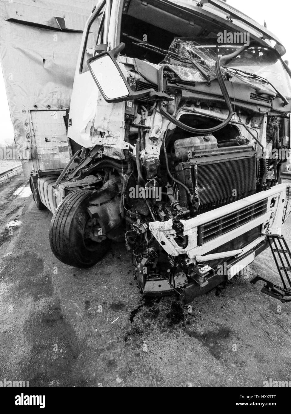 Cabin of a truck injured during an accident Stock Photo