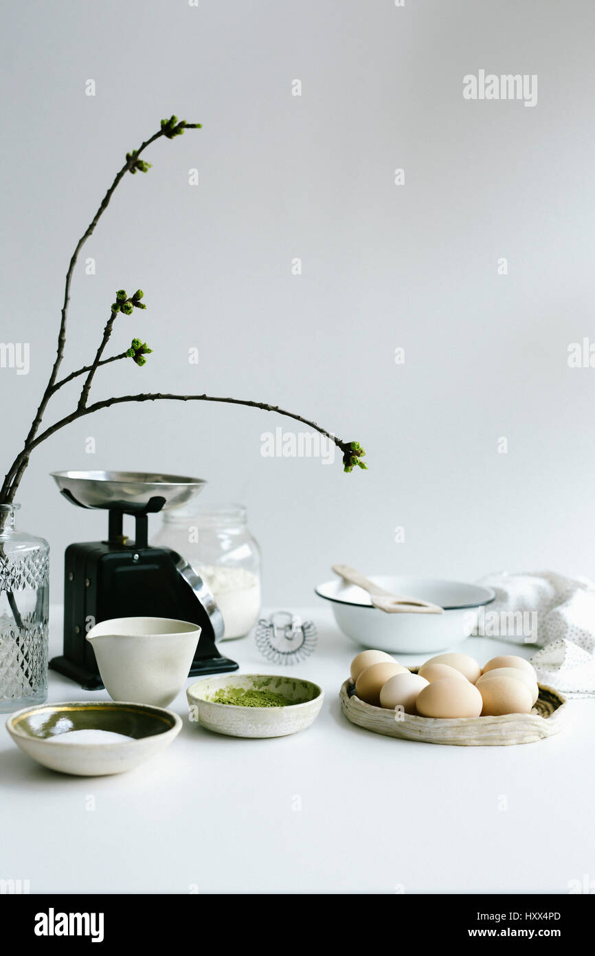 Ingredients for challah bread on the white table - Stock Image