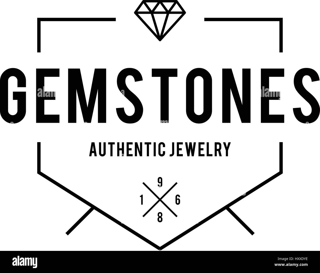 Diamond and Jewels Retro Vintage Badge Labels - Stock Image