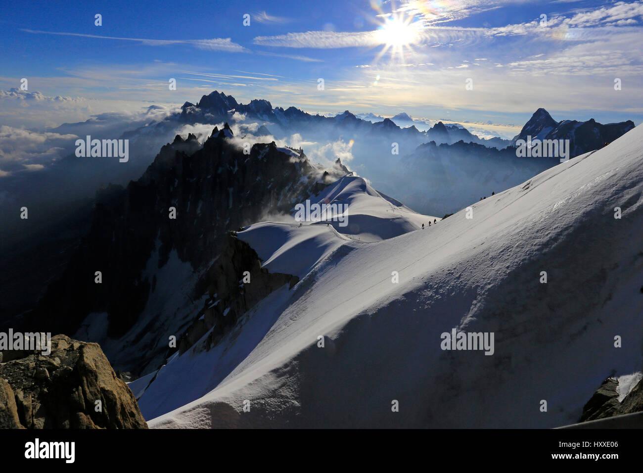 Amazing light - Chamonix Daybreak - Stock Image