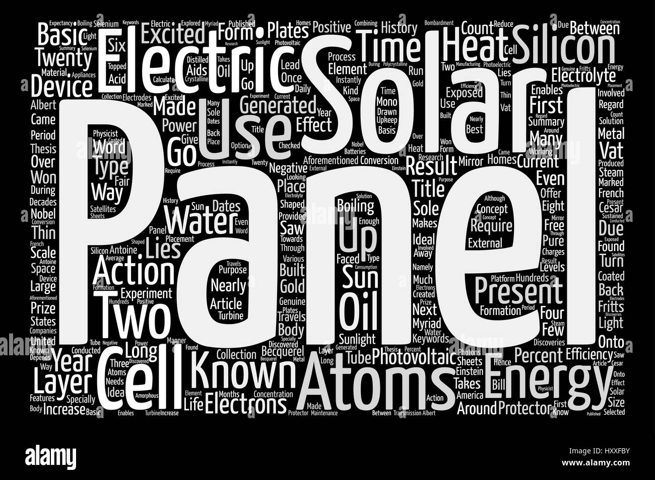 Solar Panels text background word cloud concept - Stock Image