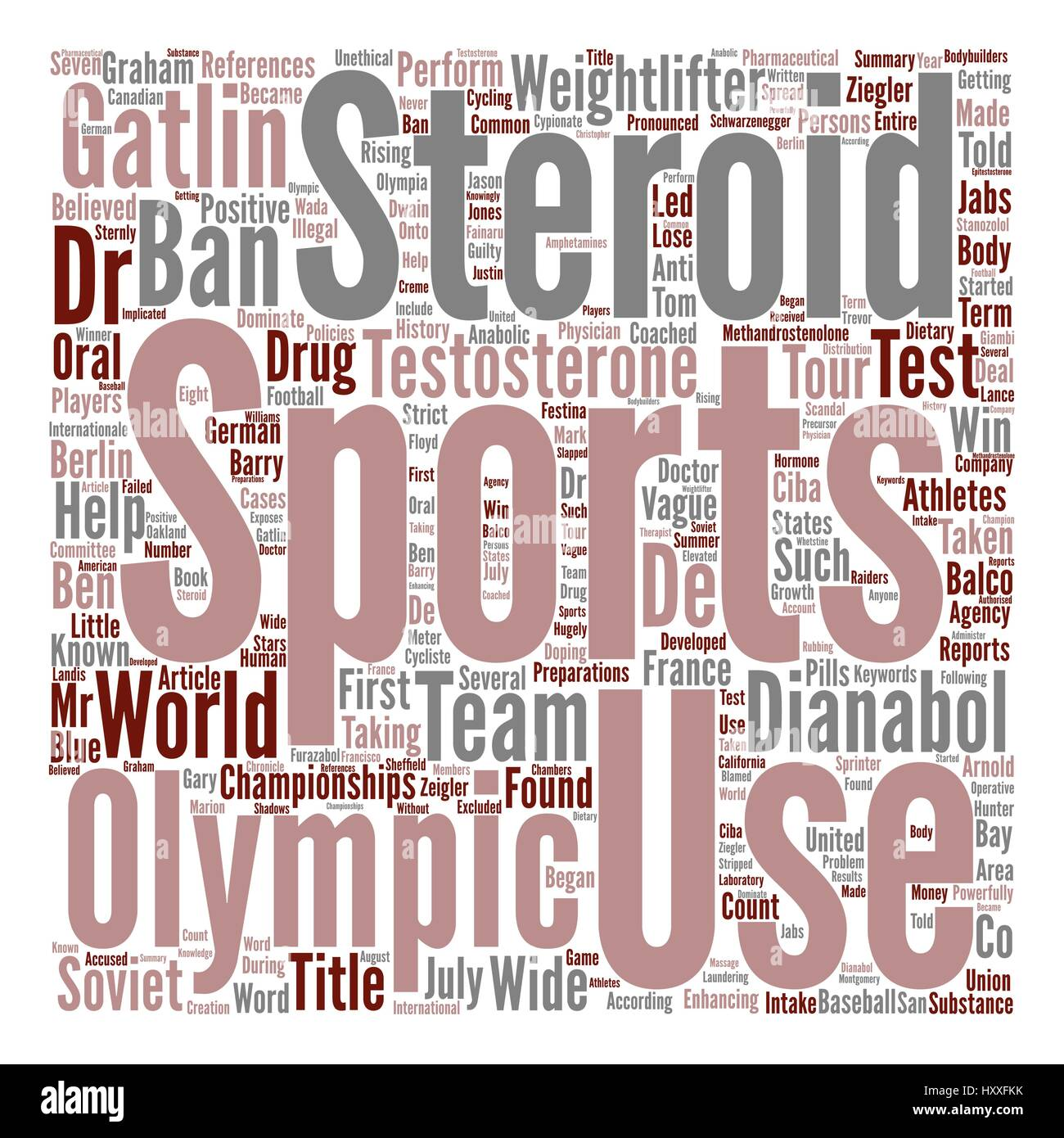 Steroid Use In Sports Is Banned text background word cloud concept - Stock Vector