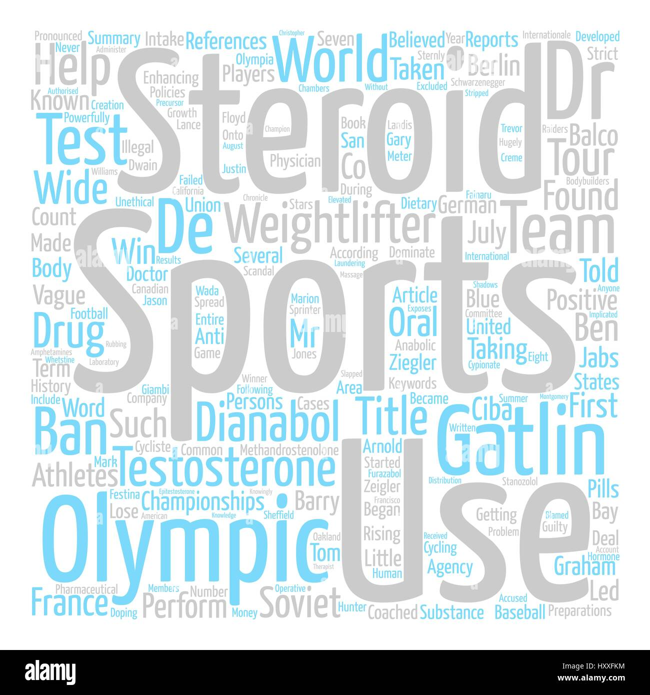 Steroid Use in Sports text background word cloud concept - Stock Vector