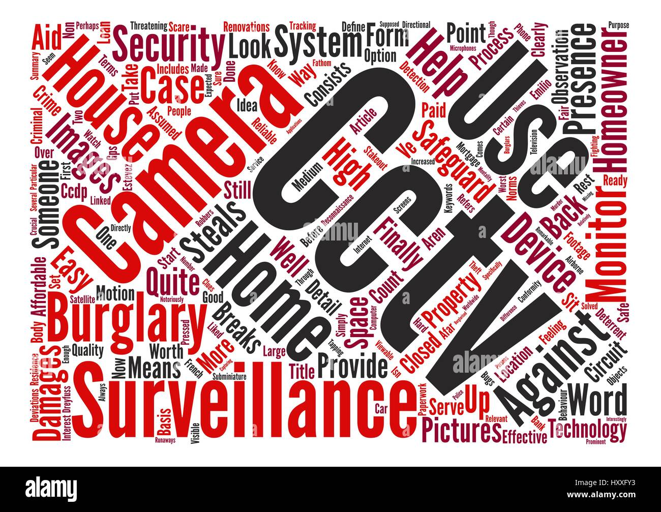 Surveillance for the homeowner Word Cloud Concept Text Background - Stock Vector