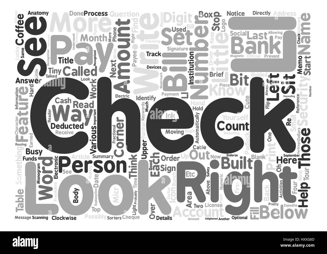 The Anatomy Of A Check Word Cloud Concept Text Background Stock