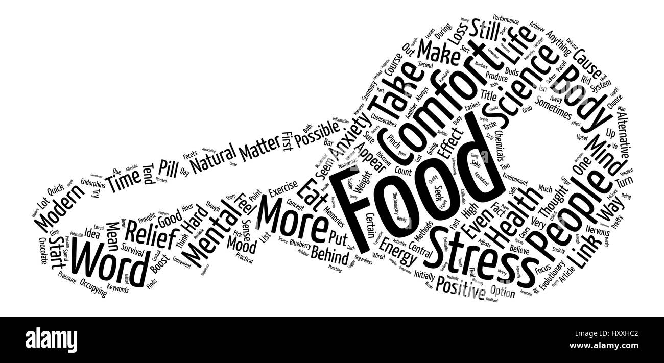 The Possible Science Behind Comfort Food Word Cloud Concept Text Background - Stock Vector